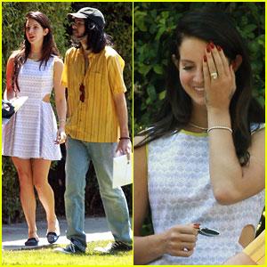 Lana Del Rey Sports Diamond Ring with Boyfriend Barrie James O'Neill