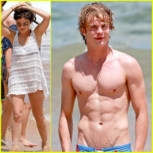 Lucy Hale: More Beach Fun with Shirtless Graham Rogers!