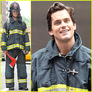 Matt Bomer: Fire Fighter on 'White Collar' Set!