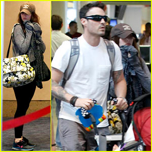 Megan Fox, Brian Austin Green, & Noah: Family Flight at LAX!
