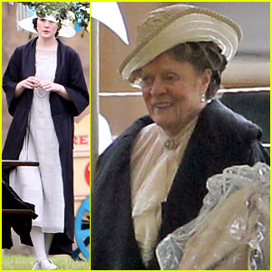 Michelle Dockery & Maggie Smith: 'Downton Abbey' Party Scene!