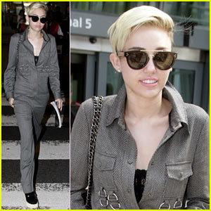 Miley Cyrus Lands in London After MTV VMA Nominations!
