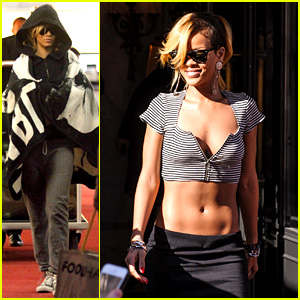 Rihanna Covers Up While Arriving in Nice for 'Diamonds' Tour