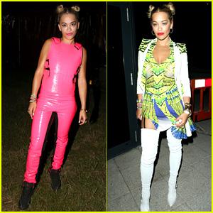 Rita Ora Wears Pink Leather Bodysuit at Music Festival