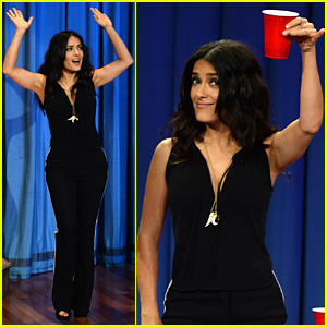 Salma Hayek Plays Beer Pong on 'Late Night with Jimmy Fallon'