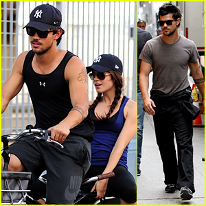 Taylor Lautner Muscles Up for Marie Avgeropoulos Bike Ride