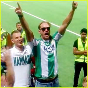 Alexander Skarsgard Leads Cheer at Swedish Soccer Match!