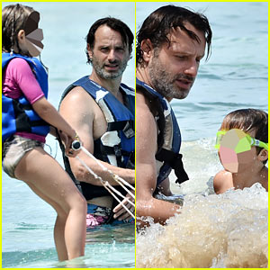 Andrew Lincoln Water Skiis with Kids on Caribbean Vacation!