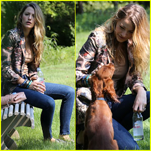Blake Lively Takes Ryan Reynold's Dog Baxter to the Park!