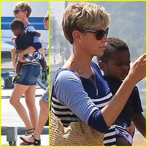 Charlize Theron & Jackson Take Private Plane in L.A.