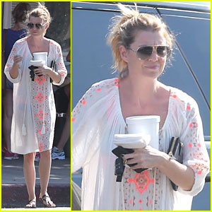 Ellen Pompeo Sports Sheer Dress for Ice Cream Stop!