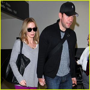 Emily Blunt & John Krasinski Hold Hands for LAX Landing!