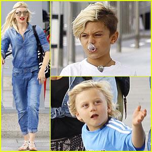 Gwen Stefani Rocks All-Denim Look for Departing Family Flight