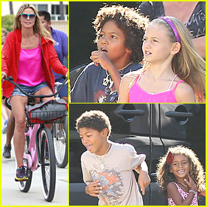 Heidi Klum & Martin Kirsten: Beach Bike Ride with Kids!