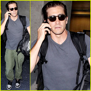 Jake Gyllenhaal Lands at LAX After Shakespeare with Alyssa Miller