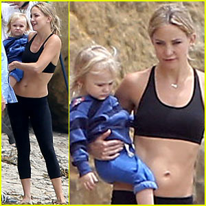 Kate Hudson Flashes Abs During Pilates Workout Video Shoot!