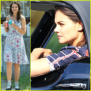 Katie Holmes Drives Vintage Car for 'Miss Meadows'