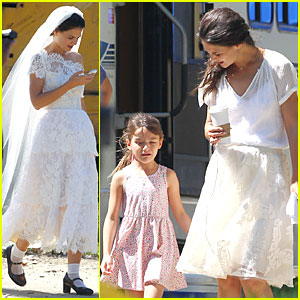 Katie Holmes: White Wedding Dress on 'Miss Meadows' Set!