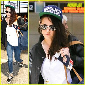 Kristen Stewart Supports Mercenaries at LAX Airport!