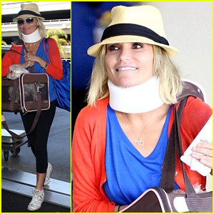 Kristin Chenoweth Wears Neck Brace for Flight to Miami