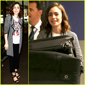 Lily Collins Pushes Giant Luggage Cart After 'Mortal' Press Tour