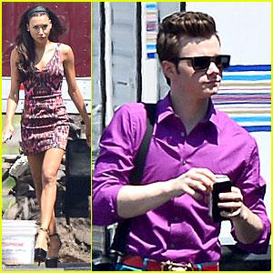 Naya Rivera & Chris Colfer: 'Glee' Filming at the Rose Bowl!