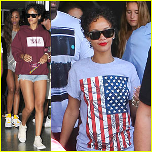 Rihanna Sports American Flag for Miami Outing!