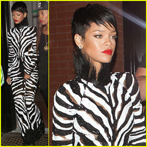 Rihanna: Zebra Gown for A$AP Rocky Video Shoot!