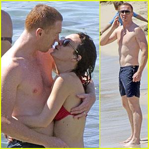 Shirtless Damian Lewis & Bikini-Clad Helen McCrory Kiss in Ibiza!