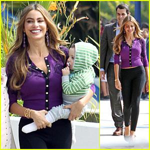 Sofia Vergara Carries Infant on 'Modern Family' Set!