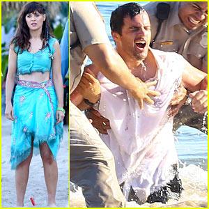 Zooey Deschanel & Jake Johnson: Waterlogged 'New Girl' Scene!