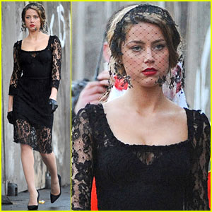 Amber Heard: Little Black Dress for 'London Fields'!