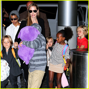Angelina Jolie Catches a Flight with All Six Kids!