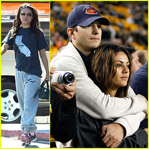Ashton Kutcher Wraps Up Mila Kunis at Chicago Bears Game!