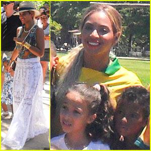 Beyonce Shows Off Soccer Skills During Brazil School Visit!