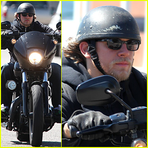 Charlie Hunnam Rides Motorcycle to Work on 'Sons of Anarchy'
