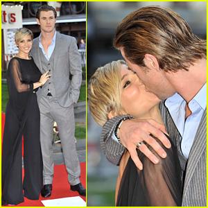 Chris Hemsworth Kisses Elsa Pataky at 'Rush' London Premiere