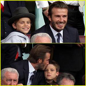 David Beckham Kisses Cruz at Barclays League Soccer Match