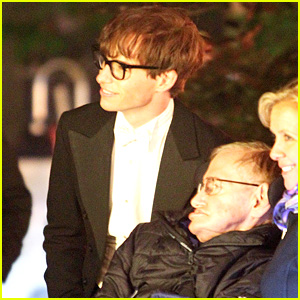 Eddie Redmayne Greets Stephen Hawking on Movie Set