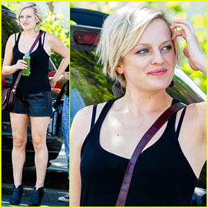 Elisabeth Moss Wears Leather Shorts for 'Listen Up Philip'