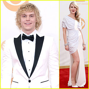 Evan Peters & Lily Rabe - Emmys 2013 Red Carpet