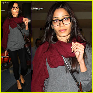 Freida Pinto Wears Glasses for Late Night Flight to LAX