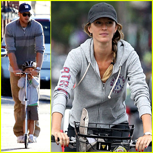 Gisele Bundchen Rides Bike, Tom Brady Scoots with Benjamin