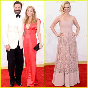 Jon Hamm & January Jones - Emmys 2013 Red Carpet