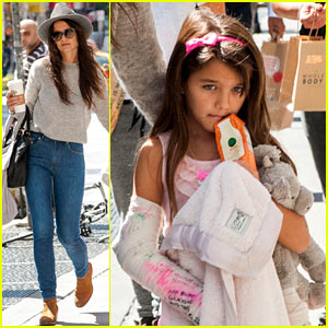 Katie Holmes Steps Out with Suri After Arm Break