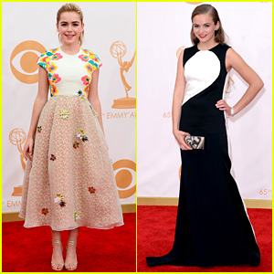 Kiernan Shipka & Morgan Saylor - Emmys 2013 Red Carpet