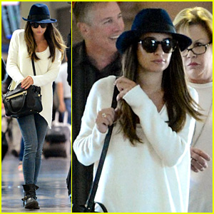 Lea Michele Lands in Los Angeles After New York Trip