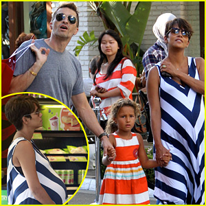 Pregnant Halle Berry & Olivier Martinez: Grove with Nahla!