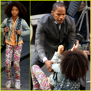 Quvenzhane Wallis & Jamie Foxx Film 'Annie' in New York!