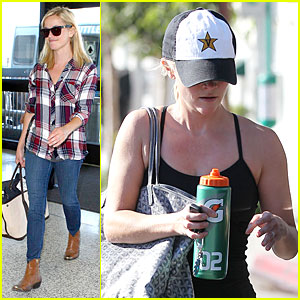Reese Witherspoon: Plaid LAX Departure After Workout!